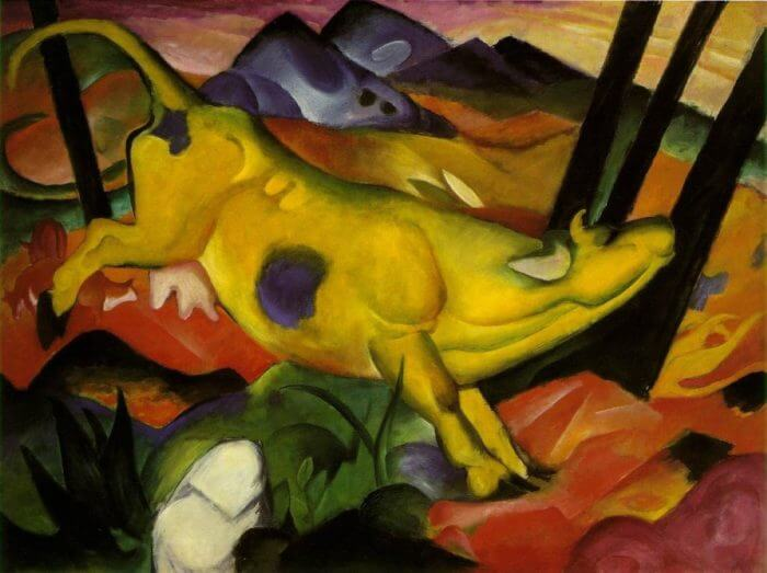 Fig. 1: Franz Marc's <em>Yellow Cow</em> (1911), in Munich's Lenbachhaus