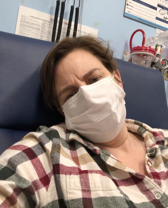 Wallace in the Emergency Room with hypoxia on her birthday in March 2020