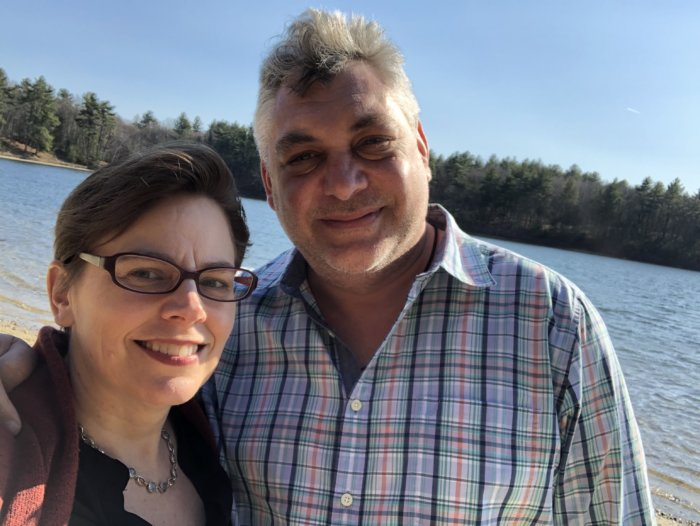 Wallace and her fiancé Konstantin at Walden Pond in Concord, MA in early March 2020.